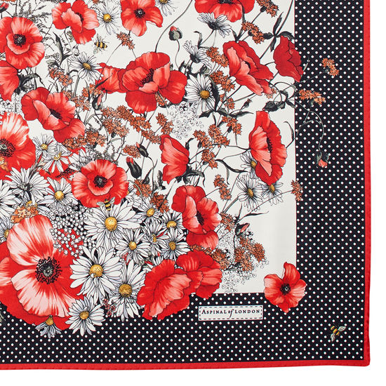 Polka Dot Poppy Silk Scarf in Red & Black Pure Silk from Aspinal of London