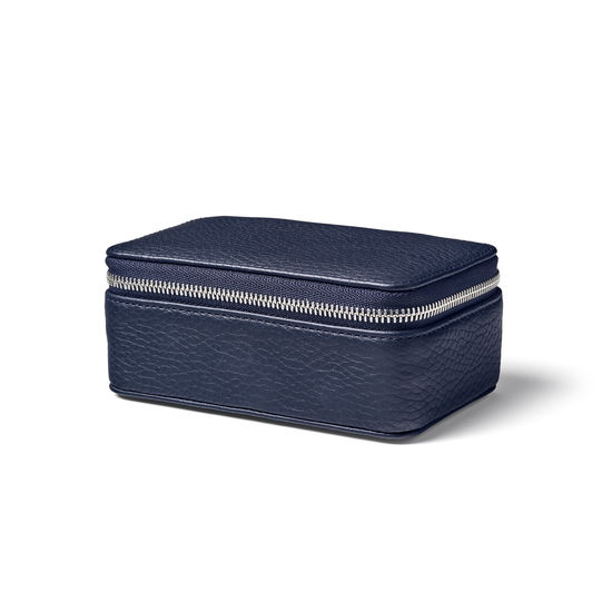 Medium Travel Jewellery Case in Navy Pebble from Aspinal of London