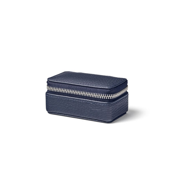 Small Travel Jewellery Case in Navy Pebble from Aspinal of London