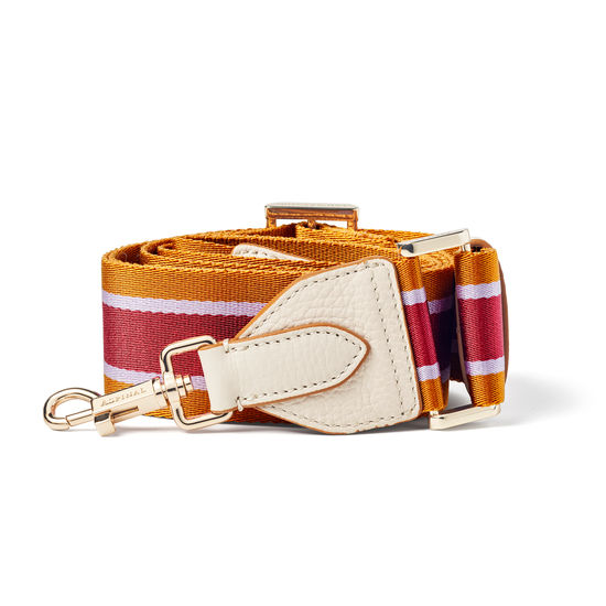Webbing Bag Strap in Ivory Pebble with Lavender, Tan & Cherry Stripes from Aspinal of London