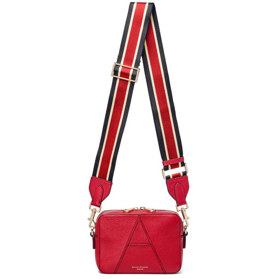Webbing Bag Strap in Cherry Pebble with Black, Red & White Stripes from Aspinal of London