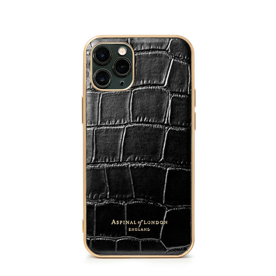 iPhone 11 Pro Case in Deep Shine Black Croc from Aspinal of London