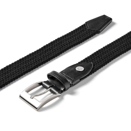 Braided Jeans Belt in Black from Aspinal of London