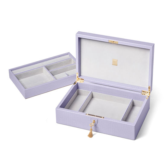 Savoy Jewellery Box in Deep Shine English Lavender Small Croc from Aspinal of London