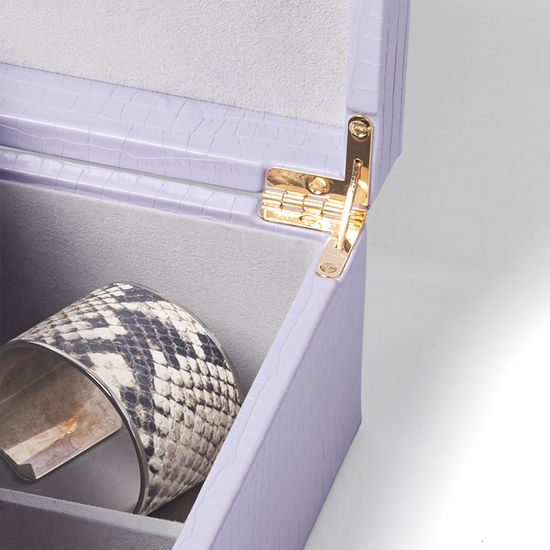 Grand Luxe Jewellery Case in Deep Shine English Lavender Small Croc from Aspinal of London