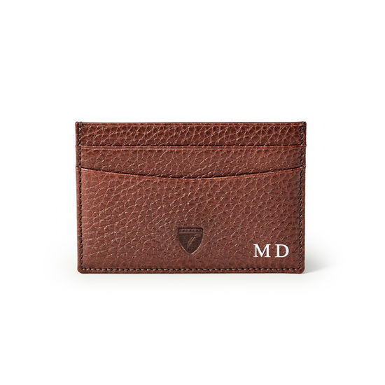 Slim Credit Card Holder in Tobacco Pebble from Aspinal of London