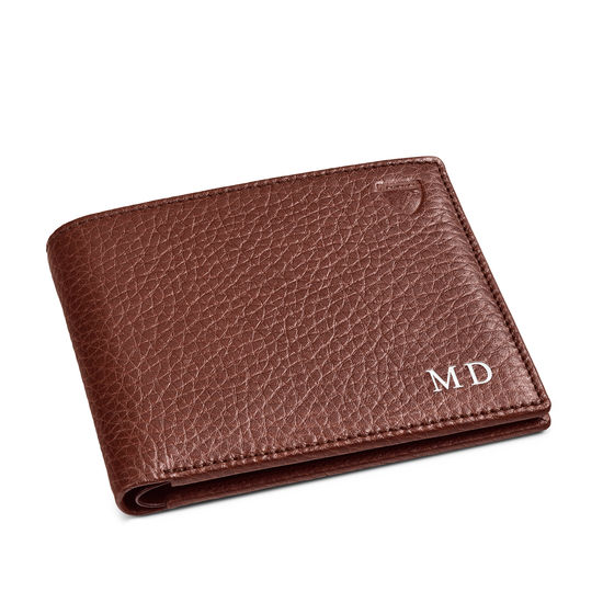 8 Card Billfold Wallet in Tobacco Pebble from Aspinal of London