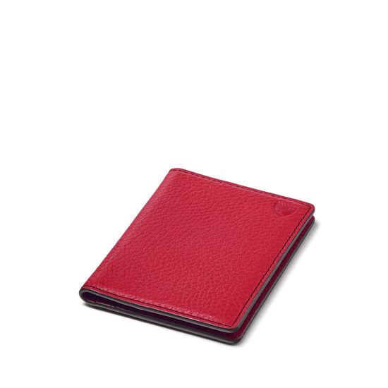 Double Fold Credit Card Holder in Cherry Pebble from Aspinal of London