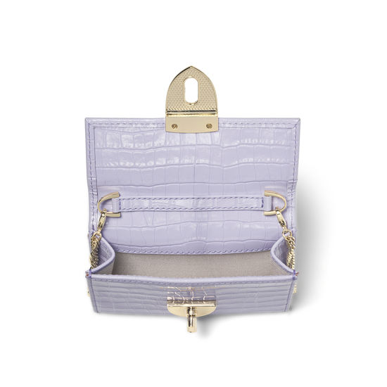 Small Mayfair Purse with Chain in Deep Shine English Lavender Small Croc from Aspinal of London