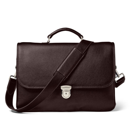City Laptop Briefcase in Brown Pebble Calf & Stone Suede from Aspinal of London