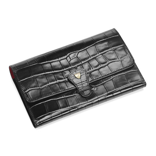 Travel Wallet with Removable Inserts in Deep Shine Black Croc from Aspinal of London