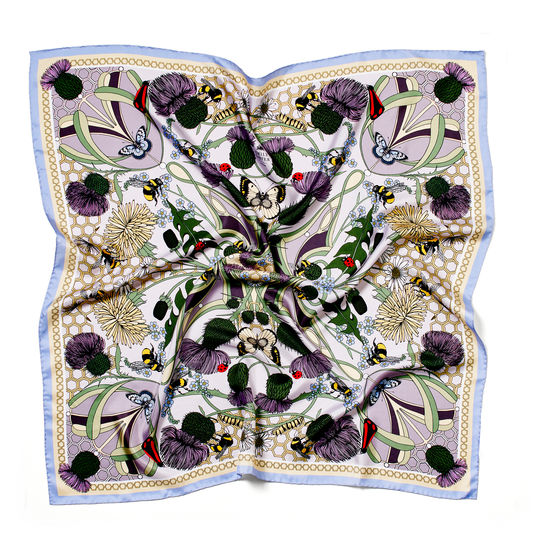 Emily Carter Silk Scarf - Honey Bee & Thistle from Aspinal of London