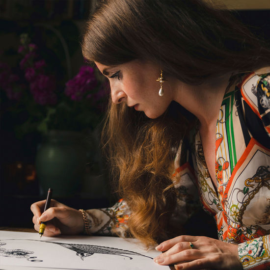 Emily Carter Silk Scarf - Fuchsia & Flamingo from Aspinal of London