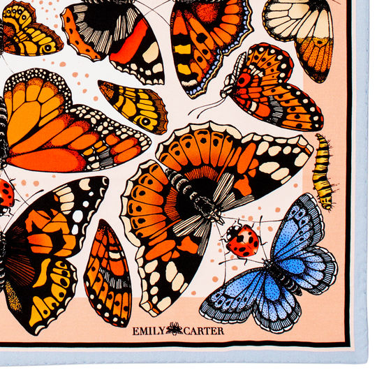 Emily Carter Silk Scarf - British Butterfly from Aspinal of London