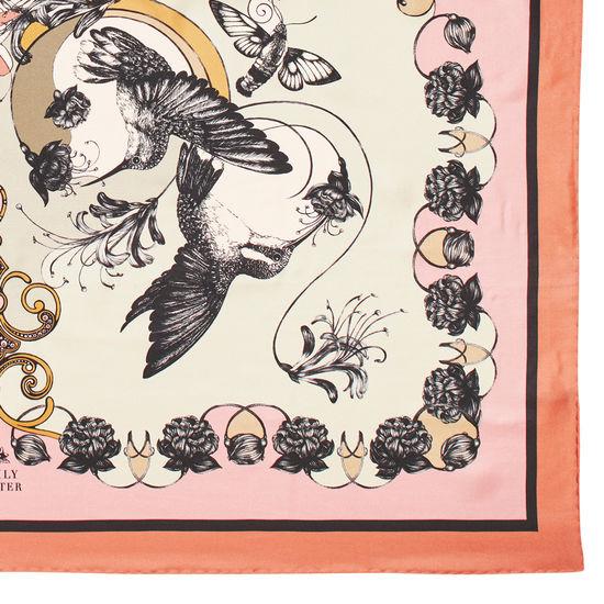 Emily Carter Silk Scarf - Hummingbird & Honeysuckle from Aspinal of London