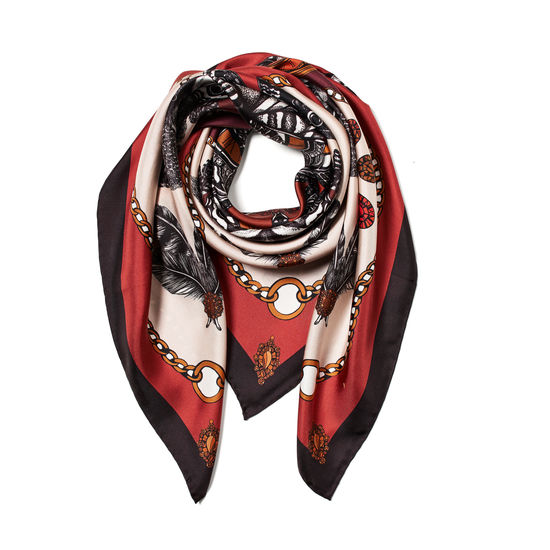 Emily Carter Silk Scarf - Owl & Pocket Watch from Aspinal of London