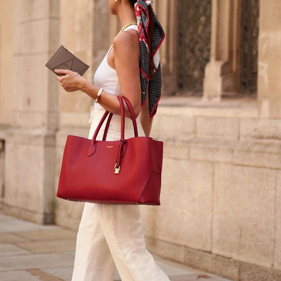 London Tote in Cherry Pebble from Aspinal of London