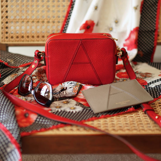 Camera 'A'  Bag in Cherry Pebble from Aspinal of London