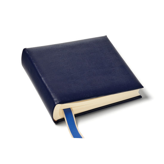 8-inch Lizard Print Leather Photo Album in Midnight Blue Silk Lizard from Aspinal of London