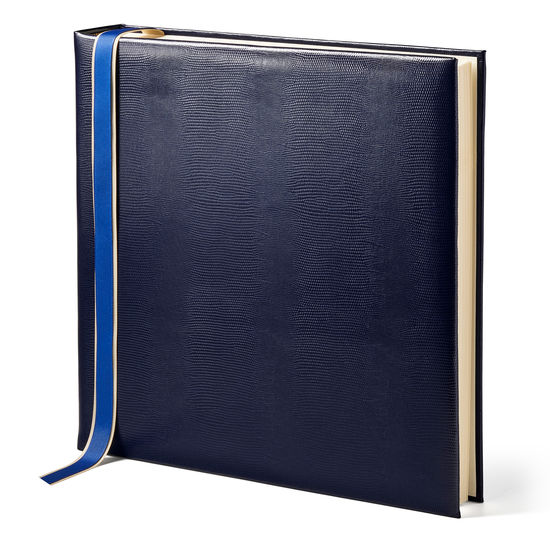 14-inch Lizard Print Leather Photo Album in Midnight Blue Silk Lizard from Aspinal of London