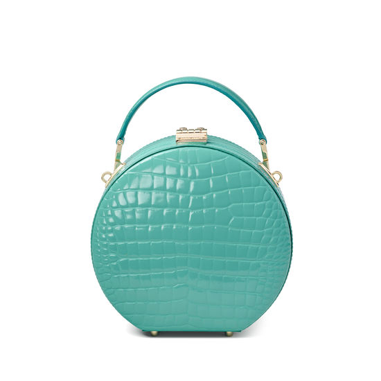 Hat Box in Chalkhill Blue Patent Croc from Aspinal of London