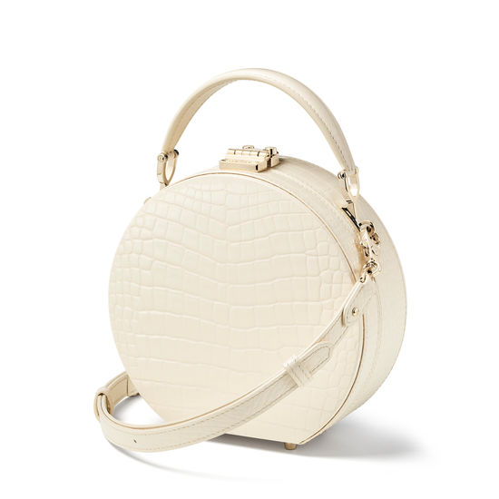 Hat Box in Ivory Patent Croc from Aspinal of London