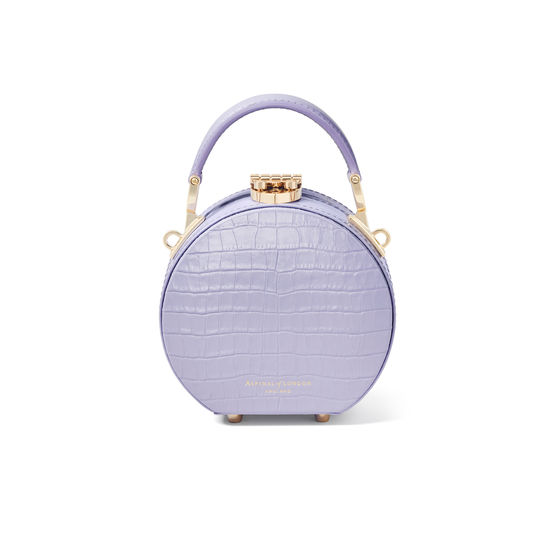 Micro Hat Box in Deep Shine English Lavender Small Croc from Aspinal of London