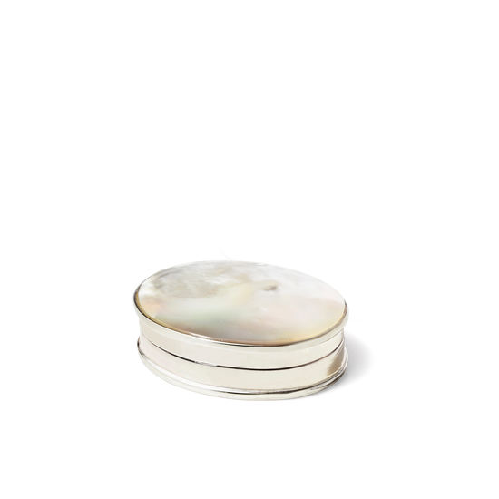 Sterling Silver Mother of Pearl Pill Box from Aspinal of London