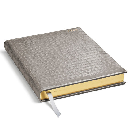 Quarto A4 Day to Page Leather Diary in Deep Shine Warm Grey Small Croc from Aspinal of London