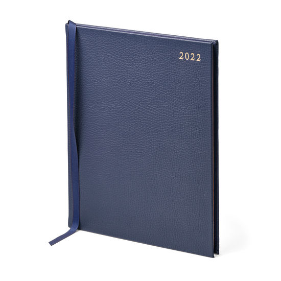 Quarto A4 Week to View Leather Diary in Navy Pebble from Aspinal of London