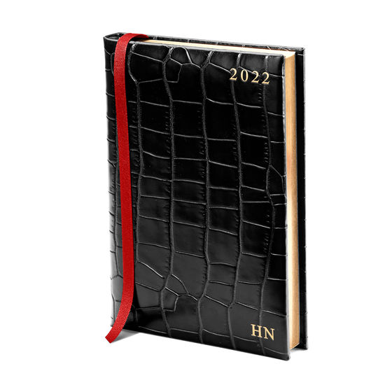 A5 Day to Page Leather Diary in Deep Shine Black Croc from Aspinal of London
