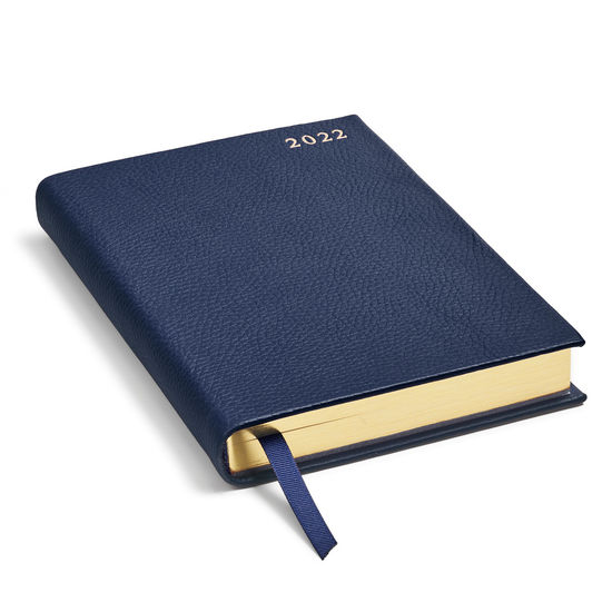 A5 Day to Page Leather Diary in Navy Pebble from Aspinal of London
