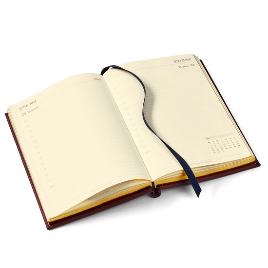 A5 Day to Page Leather Diary in Marmalade Pebble from Aspinal of London