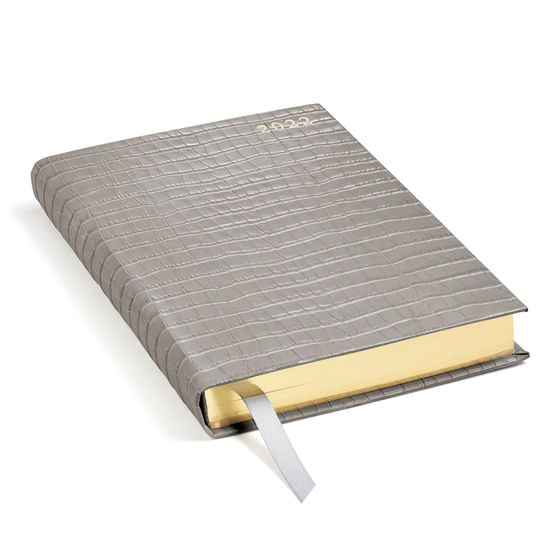 A5 Day to Page Leather Diary in Deep Shine Warm Grey Small Croc from Aspinal of London
