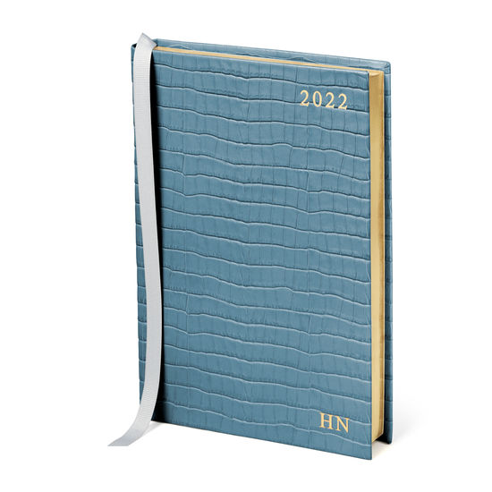 A5 Day to Page Leather Diary in Deep Shine Cornflower Small Croc from Aspinal of London