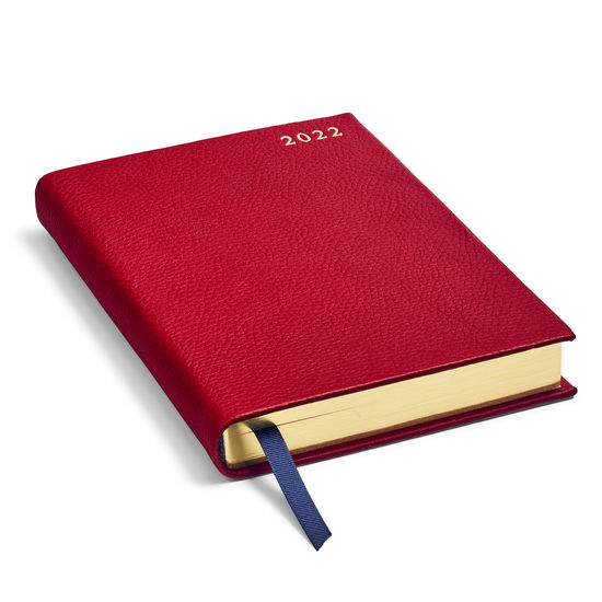 A5 Day to Page Leather Diary in Cherry Pebble from Aspinal of London