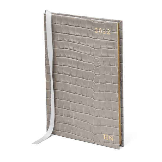 A5 Week to View Leather Diary in Deep Shine Warm Grey Small Croc from Aspinal of London