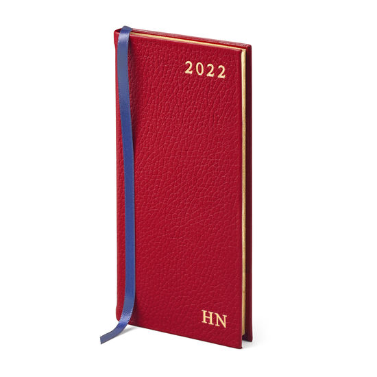 Slim Pocket Leather Diary in Cherry Pebble from Aspinal of London