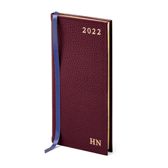 Slim Pocket Leather Diary in Oxblood Pebble from Aspinal of London