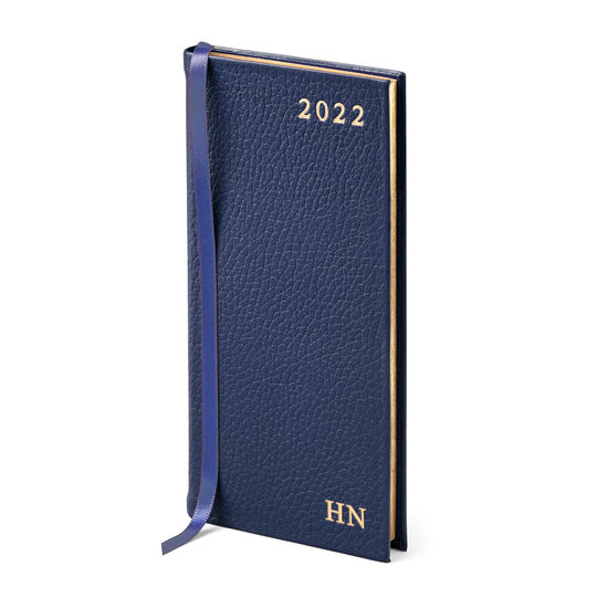 Slim Pocket Leather Diary in Navy Pebble from Aspinal of London