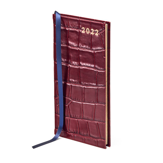 Slim Pocket Leather Diary in Deep Shine Bordeaux Croc from Aspinal of London