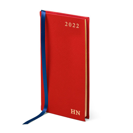 Slim Pocket Leather Diary in Scarlet Saffiano from Aspinal of London