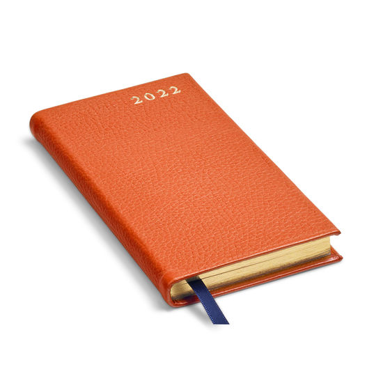 Slim Pocket Leather Diary in Marmalade Pebble from Aspinal of London