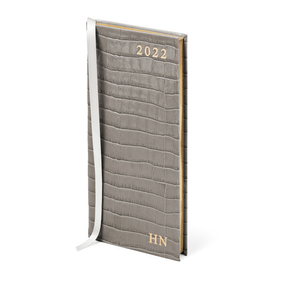 Slim Pocket Leather Diary in Deep Shine Warm Grey Small Croc from Aspinal of London