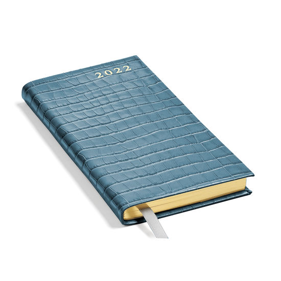 Slim Pocket Leather Diary in Deep Shine Cornflower Small Croc from Aspinal of London
