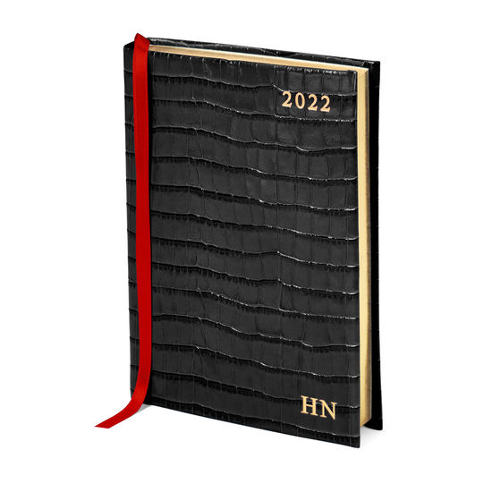 A6 Day to Page Leather Diary in Deep Shine Black Croc from Aspinal of London