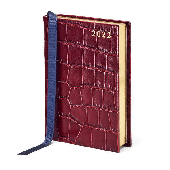 A6 Day to Page Leather Diary in Deep Shine Bordeaux Croc from Aspinal of London