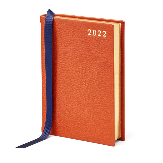 A6 Day to Page Leather Diary in Marmalade Pebble from Aspinal of London