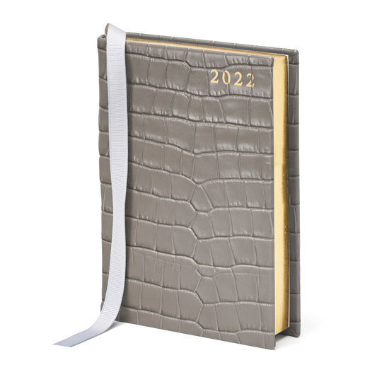A6 Day to Page Leather Diary in Deep Shine Warm Grey Small Croc from Aspinal of London