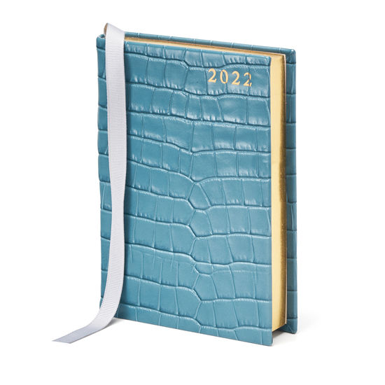 A6 Day to Page Leather Diary in Deep Shine Cornflower Small Croc from Aspinal of London